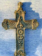 VINTAGE Patina Stoneware Crucifix Cross Wall Art Plaque Christianity ❤️sj4j