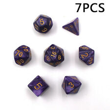 Set of 7 Sided Purple Acrylic Polyhedral Dice For DND RPG MTG Board Table Games