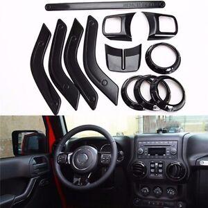 Fit Jeep Wrangler JK 4dr 2011-18 Black Car Inner Dashboard Cover Trim 12pcs/Kits