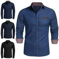 Herren Jeans Hemd Jeanshemd Slim Fit Business Freizeit Knopf Oberteile Hemden
