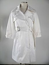 Bebe Womens Small White Satin Belted 3/4 Sleeve Cotton Blend Trench Coat Jacket