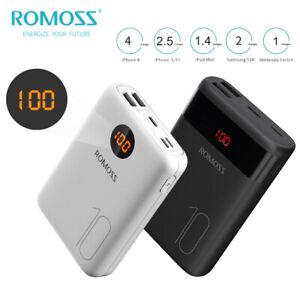 ROMOSS Mini Power Bank 10000mAh Dual USB Chargeur Portable Batterie Externe 2.1A