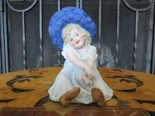 Antique Gebruder Heubach Bisque Piano Baby Bonnet Girl Doll Figurine (c.1890)
