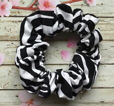 Black Zebra animal print cotton fabric hair scrunchie ponytail bun band elastic