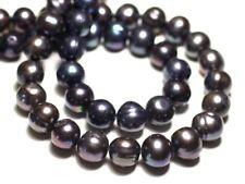 6pc - Perles Culture Eau Douce Boules 10-12mm Noir irisé - 8741140020993