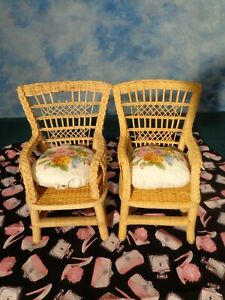 AMERICAN GIRL SAMANTHA'S WICKER CHAIRS (2) WITH FLORAL CUSHIONS (1987) RETIRED
