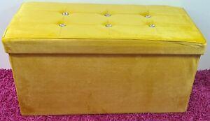 Diamante Ottoman Folding Storage box Italy plush velvet Foot stool Seat yellow