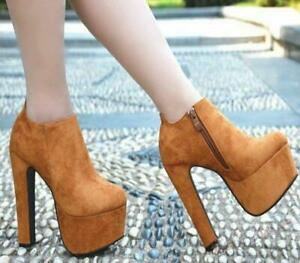 Ladies Chic Platform Zip Ankle Boots Faux Suede Chunky High Heels Clubwear Shoes