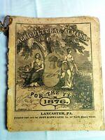 Vintage 1876 John Bear Baer's Agricultural Almanac Lancaster, PA Antique Farmers