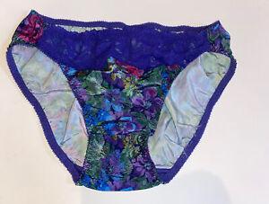 Vintage Cacique Purple Floral High Cut Lace Panties  ~ Size Large New