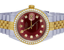 Rolex Datejust Two Tone 18K/ Steel 36MM Red Dial Diamond Watch 2.5 Ct