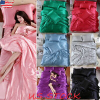Ice Silk Soft Satin King Queen Twin Size Quilt Cover Set Bed Sheets Bedspreads