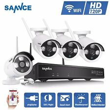 SANNCE 720P 4CH NVR Wireless IP Camera In/ Outdoor IR Home Security System P2P