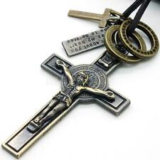 Mens Vintage Crucifix Cross Dog Tag Leather Surfer Chain Necklace Pendant