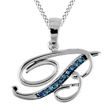 """Blue Natural Diamond Initial """"B"""" Pendant W/18"""" Necklace Sterling Silver"""