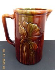 "VINTAGE BENNINGTON YELLOW WARE IRIS FLOWER 8"" TALL BROWN STONEWARE PITCHER"