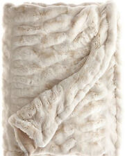 Pottery Barn faux fur ruched IVORY throw blanket 50x60