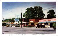 Postcard Business Street Scene in Renton, Washington~136521