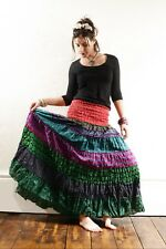 Frill MAXI SKIRT print patchwork cotton extra long hippy festival ethnic Indian