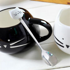 New White Kitty Cat Spoon Tea Coffee Ice Cream Stainless Steel+Porcelain