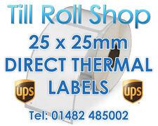 20,000 25 x 25mm WHITE Direct Thermal Labels - Zebra Sato Citizen - 38mm Core