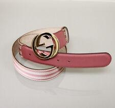 New Gucci Pink Web Canvas/Leather Belt Interlocking G Buckle 85/34 p 114876 6861