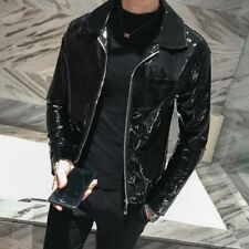 Mens Motorcycle Jacket PU Patent leather Long Sleeve Short Coat Glossy Outwear