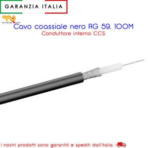 100 metri cavo coassiale RG 59, livello schermatura 2x, nero