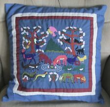 Hand Stitched Embroidery Pillow zipper Forest Animals Birds Finished Complete