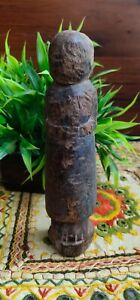 Antique Old Wooden Indian Hand Carved Female Figurine Decorative Putali Statue