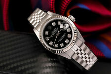 Authentic Rolex 26mm Datejust Black Dial Diamond Accent SS Steel Jubilee Watch