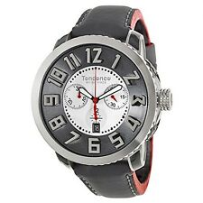 Tendence Swiss Made Watch White Dial Chrono Gray Leather Strap Date TE470001