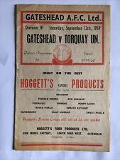 More details for gateshead's final league season v torquay 12th september 1959.