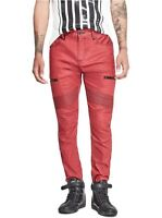 G By Guess Men's Guuap Moto Modern Skinny Jeans Coated Red Finish Size 31