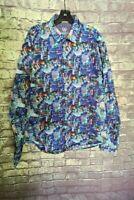 Bugatchi Uomo Classic Fit Flip Cuff  Blue multicolored Long Sleeve Shirt Mens XL