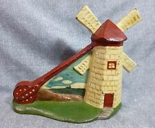 "Rare Antique Oversized ""Windmill with Background"" Cast Iron Door Stop Book Piece"