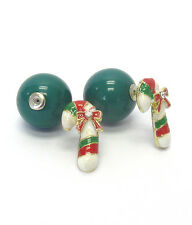 CHRISTMAS CANDY CANE GREEN Front & Back Double Sided Clear Crystal Ball Earrings
