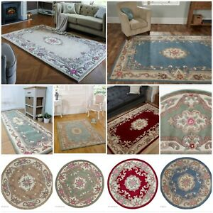LOTUS AUBUSSON PREMIUM TRADITIONAL HAND TUFTED SOFT WOOL RUG & RUNNER & ROUND