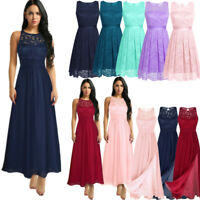 Women Floral Lace Wedding Bridesmaid Evening Party Ball Prom Gown Cocktail Dress