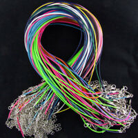 New 50pcs Wax Cord Necklace 1.5mm String with Lobster Clasp + Extension Chain