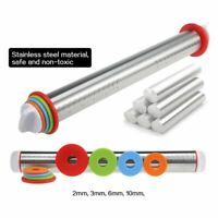 Kitchen Tool 17inch Adjustable Stainless Steel Rolling Pin Dough Rollers 8 Ring