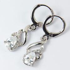 Romantic Clear Water Drop/Dangle Twist Ladies Hoop Earrings White GP Xmas Gift