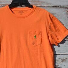 POLO RALPH LAUREN Mens T SHIRT Short Sleeve CREW Neck ORANGE S POCKET New $39