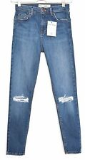 Topshop SUPER SKINNY JAMIE High Waisted Blue RIPPED FRAYED Jeans Size 8 W26 L30
