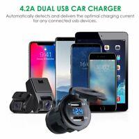 DC 12V/24V Dual USB Car Motorcycle Charger Socket Adapter Outlet LED Voltmeter