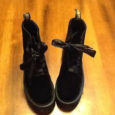 Dr Martens Docs MOLLY Velvet Black Double Sole Platform Boots Size US6 UK4 RARE!