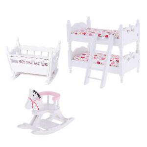 1/12 Children Bunk Bed Baby Cradle Rocking Horse Dolls House Bedroom Decor