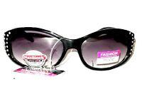 Womans Black Foster Grant Lux 4 Rhinestone Glitter Sport Wrap Sunglasses 100% UV