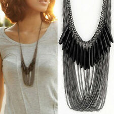 Black Tassels Multi Layers Droped Statement Pendant Chain Choker Necklace