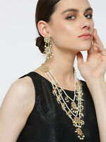 Indian Bridal Jewelry Gold Plated Pearl 3 Layer String Necklace Earrings Pair